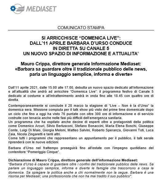 Comunicato Ufficiale Mediaset
