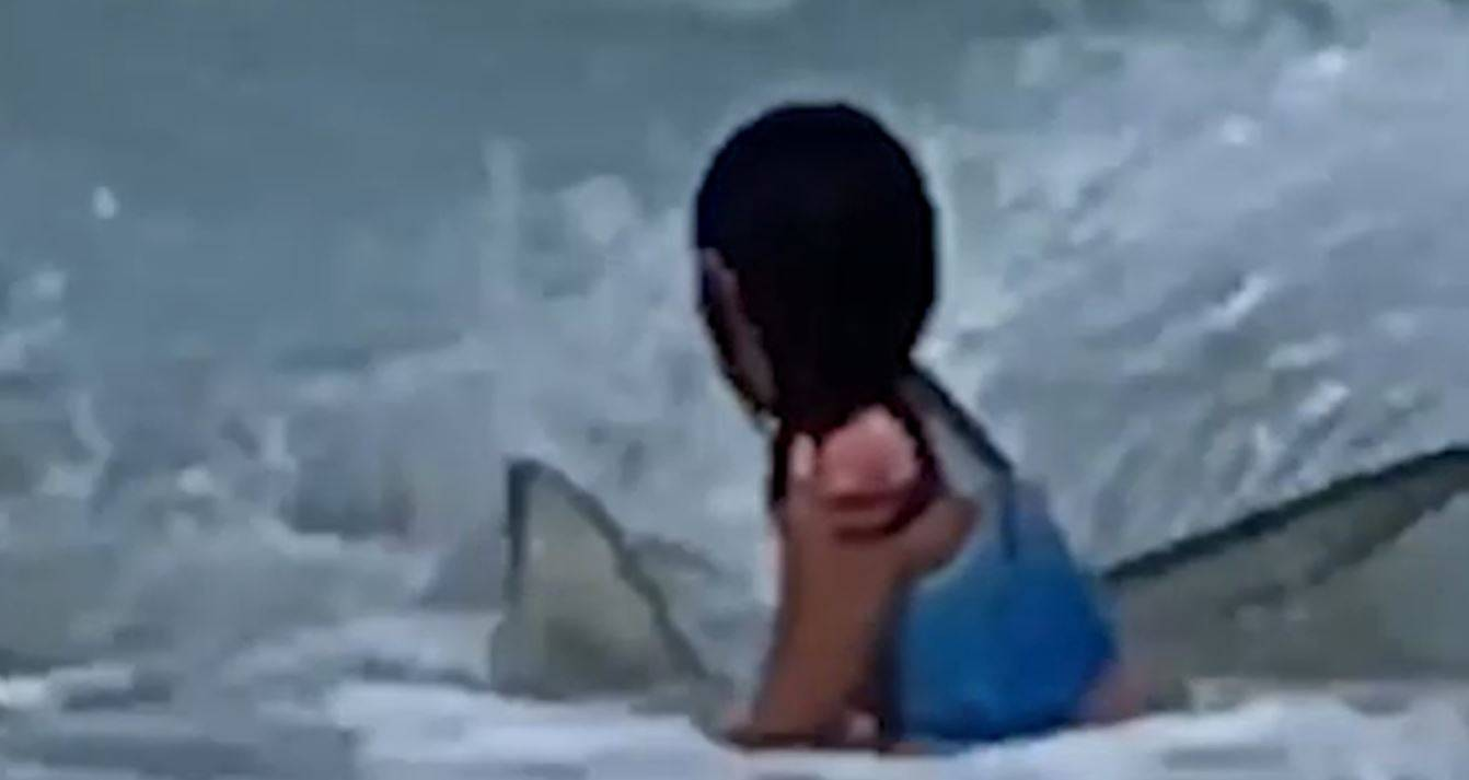 sfiorata da uno squalo